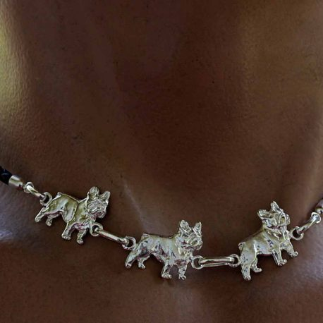 Collar de plata de l ey bulldog frances
