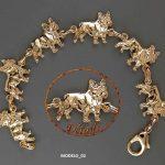 Pulsera bañado de oro bulldog frances