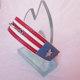 Collar en cuero con bandera personalizada