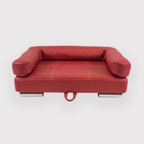 Sofa para perro con brazos y en polipiel patas de acero inox