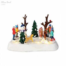 Figura Niños Jugando con Bolas de Nieve